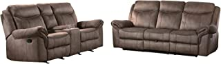 Apollo 2PC Double Reclining Sofa with Cup Holders & Console Love Seat in Airehyde Brown Leather