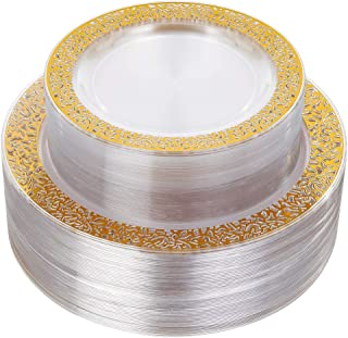 96pcs Plastic Plates with Gold Rim,Gold Disposable Plates with Lace Edge,Clear Plastic Plates Includes: 48 Dinner Plates 10.25 Inch and 48 Salad/Dessert Plates 7.5 Inch