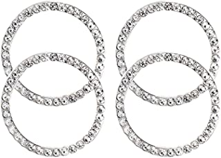 Earthland 4Pcs Car Decor Crystal Rhinestone, Auto Engine Start Stop Decoration Crystal Interior Ring Decal for Vehicle Ignition Button-Silvery …