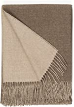 100% Baby Alpaca Wool Sofa Throw Blanket - Two Sided, Hypoallergenic & Dye Free - Perfect for Snuggling (Ivory/Heather)