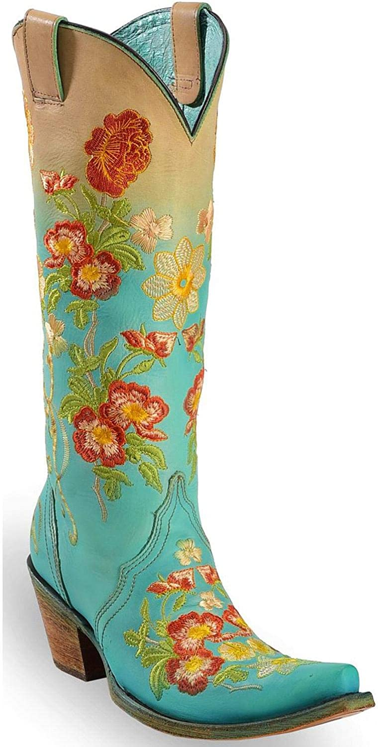CORRAL Women's Turquoise orange Floral Embroidered Boot Snip Toe - C3304