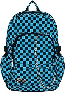 Mochila de viaje, rombos negro y azul, con protección para ordenador portátil