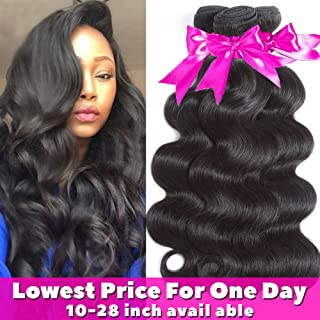 Flady Hair 10A Brazilian Body Wave Virgin Hair 3 Bundles 14 16 18inch Unprocessed Virgin Human Hair Weave Natural Black Color Remy Hair
