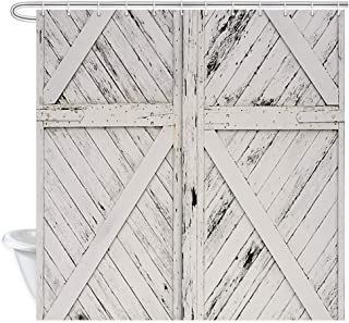 NYMB Old Wooden Doors Shower Curtain, Vintage Old Rustic White Painted Barn Wood Door Bath Curtains, Fabric Farmhouse Shower Curtain for Bathroom 12PCS Hooks 69X70 in Western Country Valance