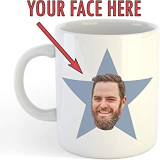 Personalized Star Face Mug – Funny Custom Office Gift – Add Your Own Face – 11oz Ceramic Coffee Cup