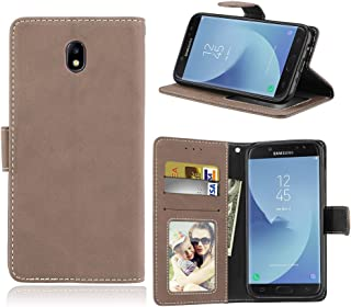 Phone Cases & Covers Flip Stand Case Cover Retro Style PU Leather Case with Kickstand and Card Slots for Samsung Galaxy J730 EU Version Mobile Phone Cases (Color : Beige)