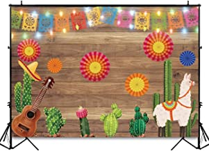 Funnytree 7X5ft Mexican Fiesta Theme Photography Backdrop Mexico Cactus Guitar Party Background Cinco de Mayo Colorful Flags Paper Flowers Banner Dress up Cake Table Decoration Photo Booth Props