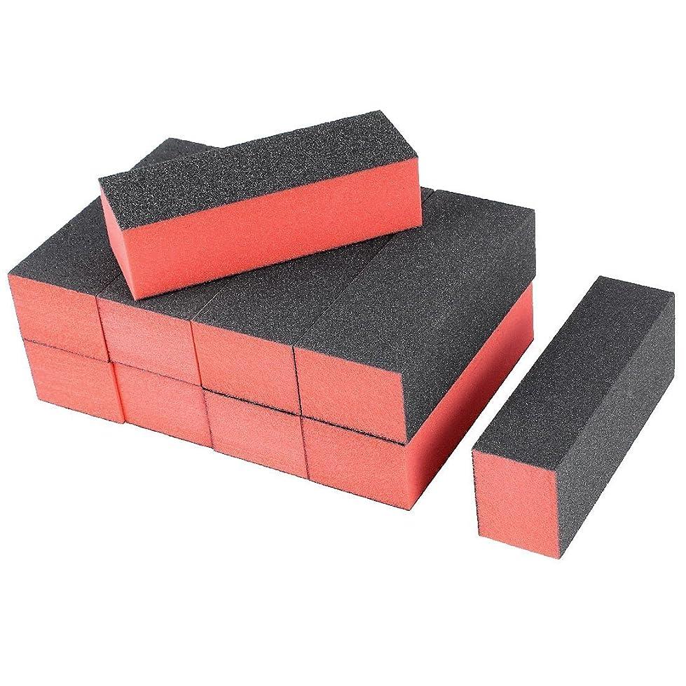 考えた期待してきつく4ウェイネイルファイル,SODIAL(R) 10×ブラックレッドネイルポリッシャー4ウェイバッファバフブロックマニキュアファイル