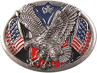 "Sun-Day ""American Eagle"" Belt Buckle With American Flags"
