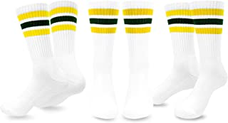 TeeHee Men's Sports Stripes Cotton Half Cushion Crew Socks 3-pair Pack