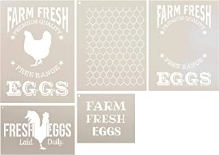 Farm Fresh Eggs Farmhouse Stencil Set - 5 Piece by StudioR12 | Reusable Mylar Template | Use to Paint Wood Signs - Walls - Tables - DIY Kitchen Decor