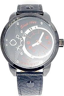 ساعة يد للرجال من اوماكس - رياضية، متعددة الألوان، مينا سوداء - سوار من الجلد - مقاومة للماء - Beeb1234