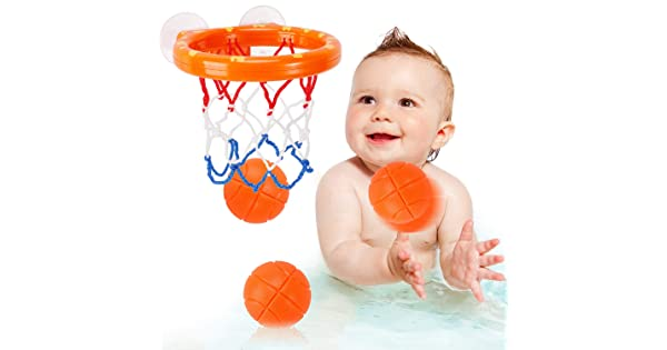 3 Balls Included NASHRIO Baby Bath Toys Fun Bath Time Play Water Toy Basketball Hoop /& Balls Set for Bathtub Swimming Pool for Toddlers Boys and Girls