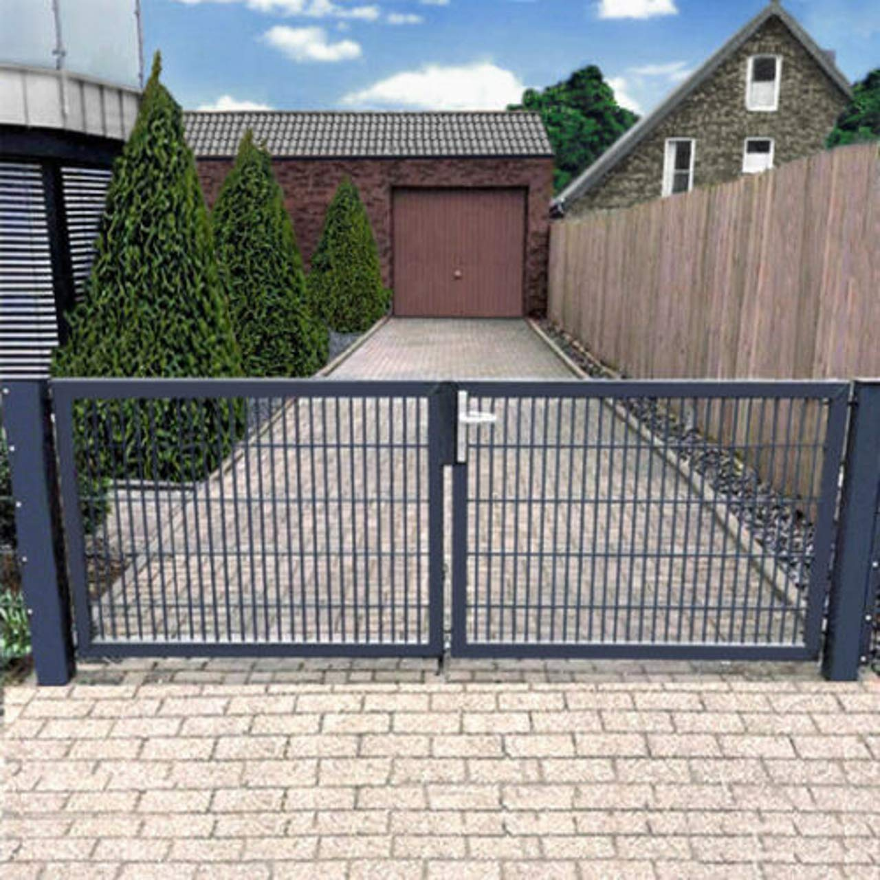 Puerta doble de 200 cm, puerta de jardín Hoftor gris con cerradura, Gris: Amazon.es: Bricolaje y herramientas