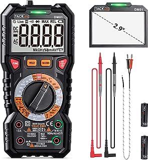 Digital Multimeter TRMS 6000 Counts,LED Intelligent Indicator Jack, Manul Ranging Measuring AC/DC Voltage,AC/DC Current,Re...