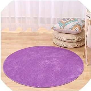 Solid Memory Foam Chair Mat Area Rug for Children Bedroom Rugs Yoga Mats Doormat Big Round Carpet for Living Room,Purple,Diameter 200cm