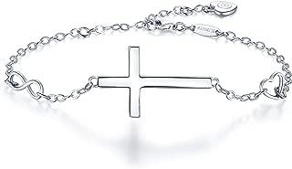 BlingGem Womens 925 Sterling Silver Bracelet Faith Religious Infinity Heart Love Symbol Cross Bracelet