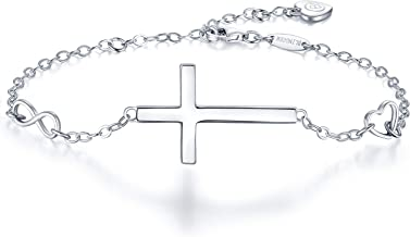 BlingGem Womens 925 Sterling Silver Bracelet Faith Religious Infinity Heart Love Symbol Cross Bracelet