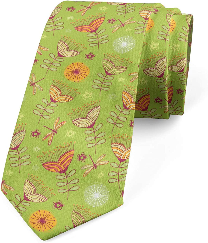 Ambesonne Men's Tie, Bluebell Flowers, Necktie, 3.7