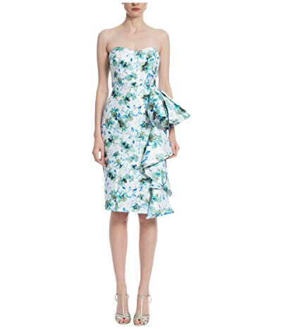 Badgley Mischka Print Side Ruffle Cocktail (Ivory Multi) Women