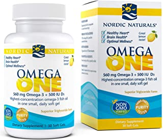 Nordic Naturals Omega ONE, Lemon Flavor - 560 mg Omega-3 + 500 IU Vitamin D3 - 30 Count - High-Potency Fish Oil in ONE Eas...