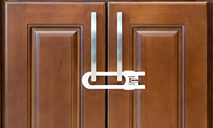 Sliding Cabinet Locks For Child Safety   Baby Proof Your Kitchen, Bathroom, and Storage Doors   Childproof Safety Locks For Knobs and Handles   Easy Install (4 Pack, White)
