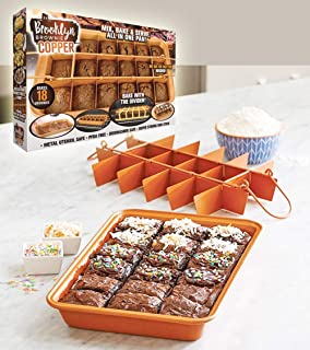 Brooklyn Brownie Copper by Gotham Steel Nonstick Baking Pan with Built-In Slicer, Ensures Perfect Crispy Edges, Metal Uten...
