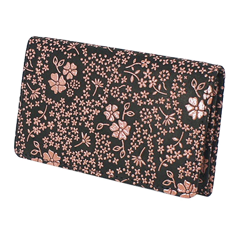 INDEN-YA 印傳屋 印伝 名刺入れ レディース 女性用 黒×ピンク アメリカンブルー 2501-51-166