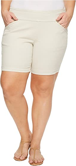 "Plus Size Ainsley Divine Twill Pull-On 8"" Shorts in Stone"