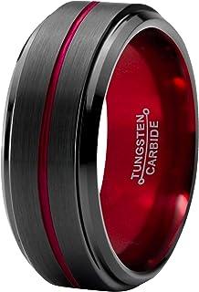 ELGNT Designs 8mm Black Red Brushed Tungsten Mens Wedding...