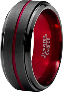 Designs 8mm Black Red Brushed Tungsten Mens Wedding Ring Band | Mens Wedding Band | Engagement Ring | Promise Ring | Size