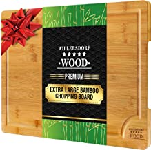 """EXTRA LARGE Organic Bamboo Chopping Board   45cm x 30cm x 2cm with Juice Groove Best Kitchen Cutting Board for Meat (Butcher Block) Cheese and Vegetables Anti Microbial Heavy Duty Serving Tray with Handles 18"""" x 12"""" x 0.8"""""""