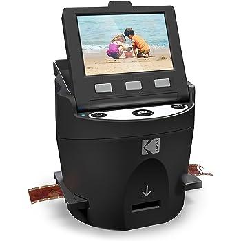 """KODAK SCANZA Digital Film & Slide Scanner - Converts 35mm, 126, 110, Super 8 & 8mm Film Negatives & Slides to JPEG - Includes Large Tilt-Up 3.5"""" LCD, Easy-Load Film Inserts, Adapters & More"""