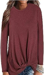 8sanlione Women's Long Sleeve Sweatshirts Casual Waffle Knit Twist Knot Blouses Tops for Women