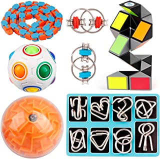 D-FantiX 14 Pcs Brain Teaser Puzzles Toy Set, Rainbow Puzzle Ball, 3D Maze Ball, Magic Snake Cube, Metal Wire Puzzles, Flippy Chain, 48 Link Wacky Tracks Sensory Fidget Toys Kids Party Favor Christmas
