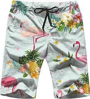 Flamingo Bird Tropical Flowers Retro Animals Vintage Mens Beach Pants 3D Printed Casual Fashion Adjustable Beach Board Shorts