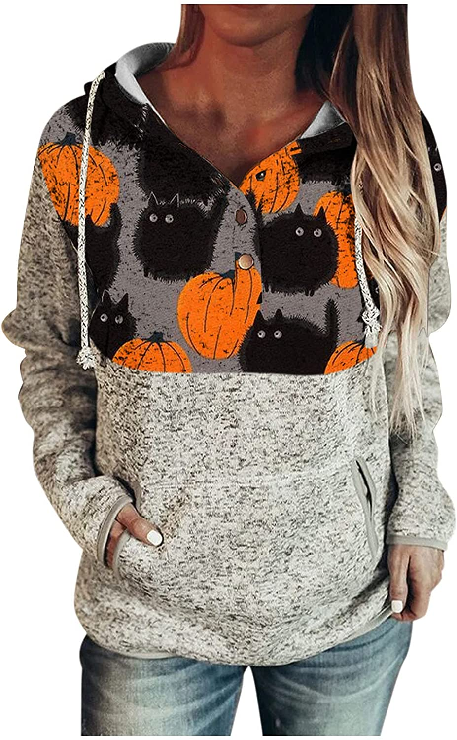 GKASA Womens Button Down Hoodies S 70% Max 82% OFF OFF Outlet Long Halloween Pullover Print