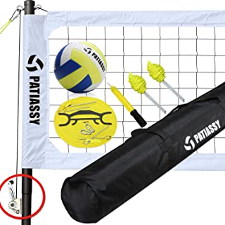 Professional Portable Volleyball Net and Ball Set System for Outdoor Beach, Backyard with Storage Bag + Upgraded Adjustable Poles + Winch System for Anti Sag Net + Metal Stakes, White
