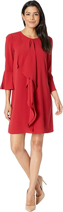 Fancy Crepe Shift Dress w/ Jewel Neckline