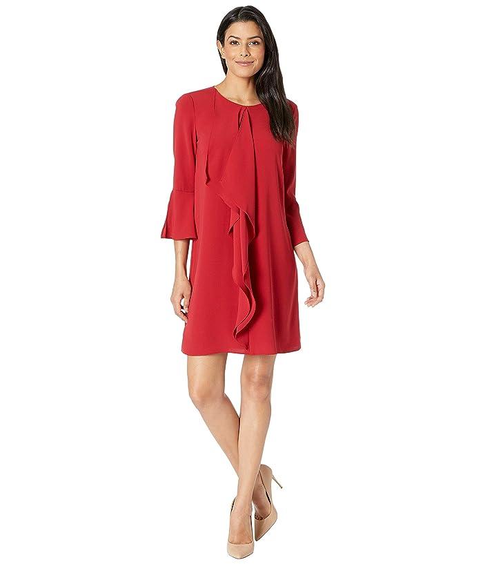 Adrianna Papell Fancy Crepe Shift Dress w/ Jewel Neckline (Cardinal) Women