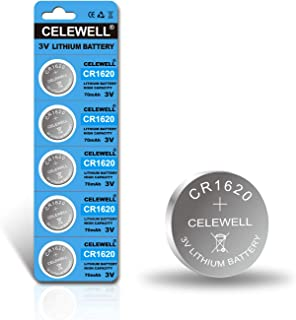 ?5-Year Warranty? CELEWELL CR1620 CR 1620 Battery for Key Fob Tracker 70mAh 3V Lithium Coin Cell 5 Pack