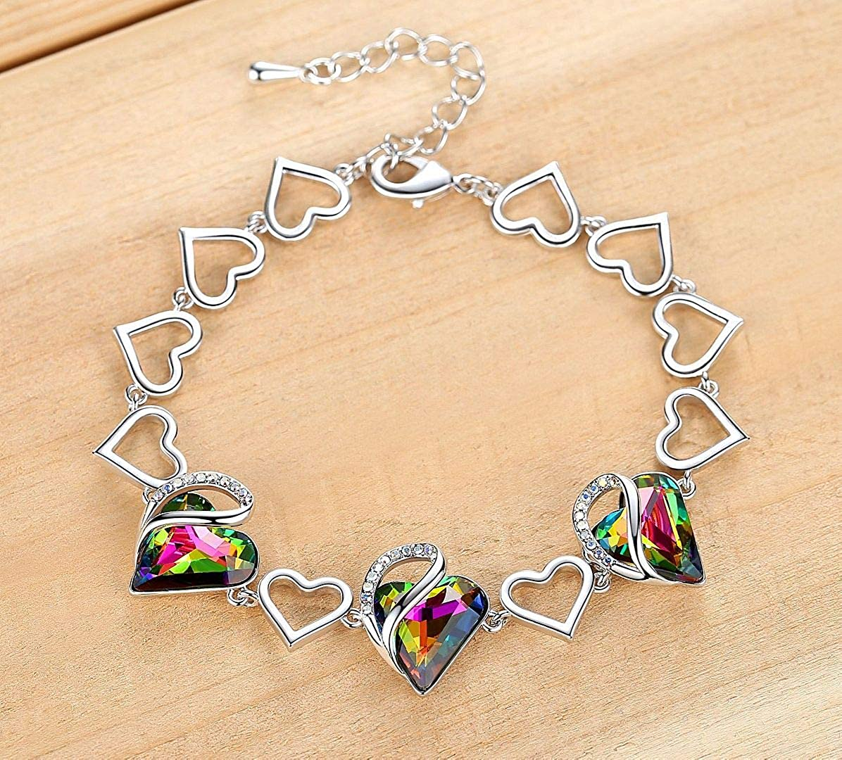 Silver-Tone Womens Gifts 7 with 2 Extender Leafael Infinity Love Heart Link Bracelet with Birthstone Crystal
