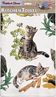 Fiddler's Elbow Tabby Kittens 100% Cotton Eco-Friendly Dish Towel, Kitchen Towel with Hanging Loop, Cat Dish Towel, Gift for Cat Lovers
