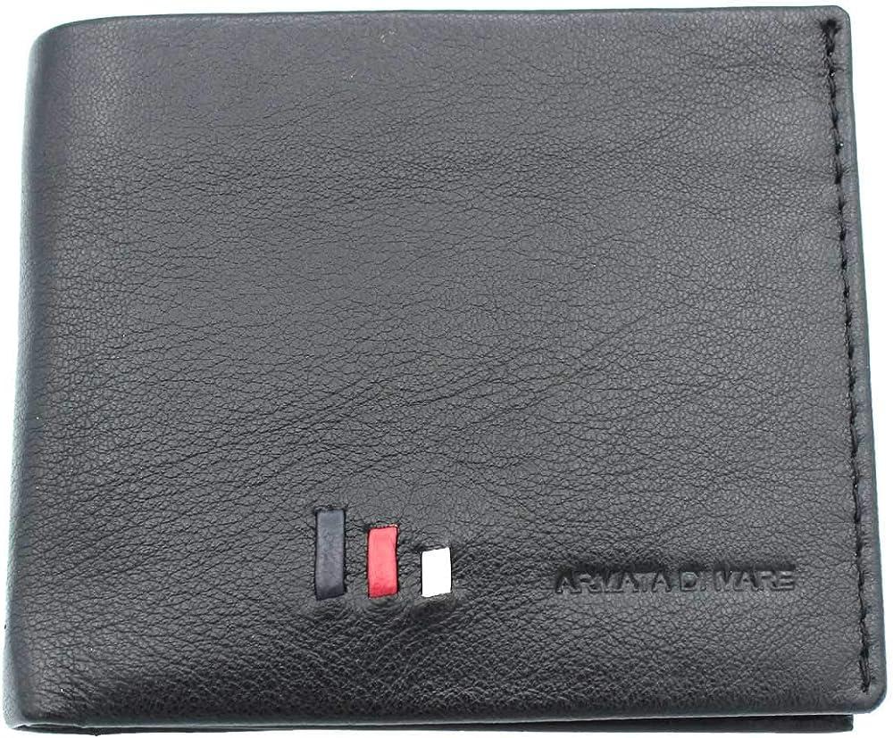 Armata di mare portafoglio, porta carte di credito per uomo, in vera pelle AM.S.PF537-9.NE
