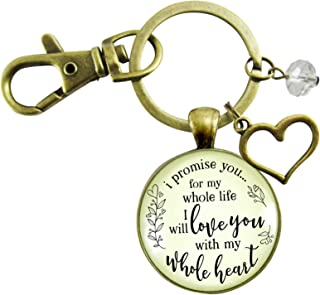 Love My Wife Keychain I Promise You For My Whole Life Gift From Husband Wedding Day Women's Jewelry Heart Charm