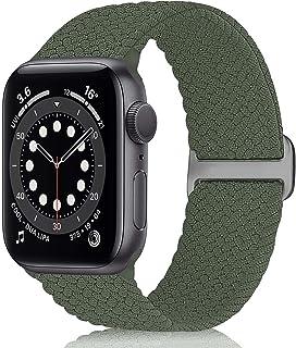 WNIPH Flätat Solo Loop armband kompatibelt med Apple Watch 38 mm 40 mm 42 mm 44 mm, rostfritt stål spänne töjbart ersättni...