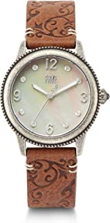 Women's Sabrina Stainless Steel Japanese Quartz Leather Strap, Brown, 18 Casual Watch (Model: 37212452SLV049)