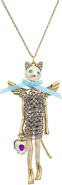 Betsey Johnson - Blue and Gold Long Cat Pendant Necklace