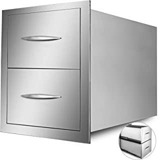 Mophorn Outdoor Kitchen Drawer Stainless Steel 15x21.6 Inch BBQ Double Drawers with Chrome Handle for Outdoor Kitchen