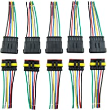 MUYI 5 Sets 18AWG Waterproof Electrical Connectors Kit 1.5mm Series Terminal and Rubber Seal with 10cm Wire Weatherpack Connectors (6 pin)